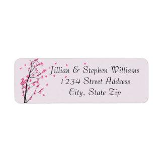 Haste da flor de cerejeira - etiquetas de endereço etiqueta endereço de retorno