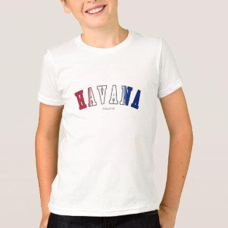 Havana em cores da bandeira nacional de Cuba T-shirt