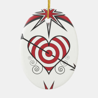 heart112 ornamento de cerâmica oval