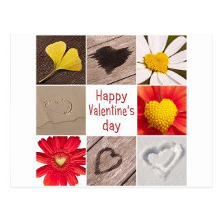 Heart collage Happy Valentine' s day Cartão Postal