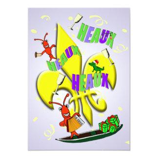 Heaux, Heaux, festa de Natal de Heaux Cajun Convite 12.7 X 17.78cm