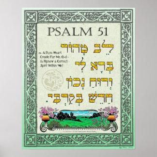 Hebraico, inglês, e transliteração do ~ do 51:12 pôster