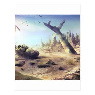 Helicóptero perdido da fortuna da destruição cartão postal