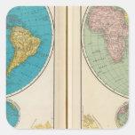 Hemisfério ocidental e oriental adesivos quadrados