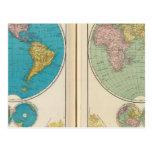 Hemisfério ocidental e oriental cartão postal