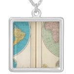 Hemisfério ocidental e oriental colar com pendente quadrado