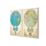 Hemisfério ocidental e oriental impressão em tela