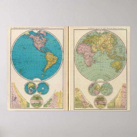 Hemisfério ocidental e oriental pôster