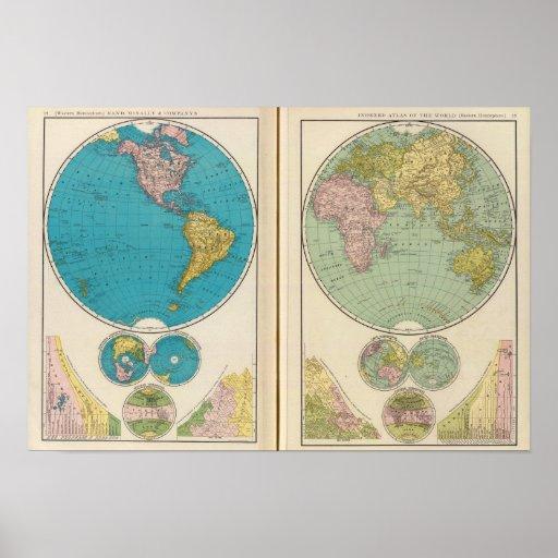 Hemisfério ocidental e oriental posteres