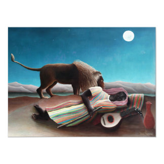Henri Rousseau o vintage aciganado do sono Convite 16.51 X 22.22cm