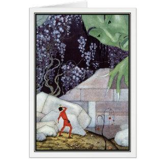 Henry e o gigante por Virgínia Frances Sterrett Cartão Comemorativo