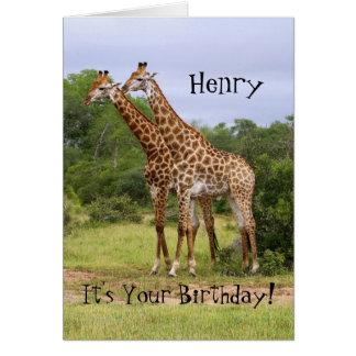 """Henry """"vai"""" cartão selvagem dos girafas do feliz a"""