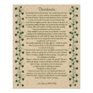 Hera da prosa dos Desiderata no pergaminho claro Pôster