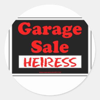 Herdeira da venda de garagem adesivo em formato redondo