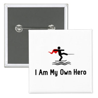 Herói do esqui aquático bóton quadrado 5.08cm