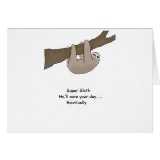 Herói super da preguiça cartão comemorativo