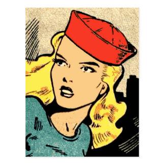 Heroína da banda desenhada em Red Hat Cartão Postal