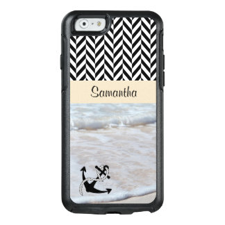 Herringbone preto & branco - ondas da praia -