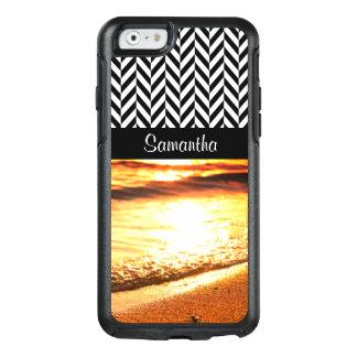 Herringbone preto & branco - ondas da praia do por