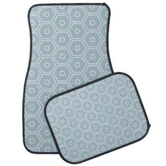 Hexágono azul geométrico tapete para carro