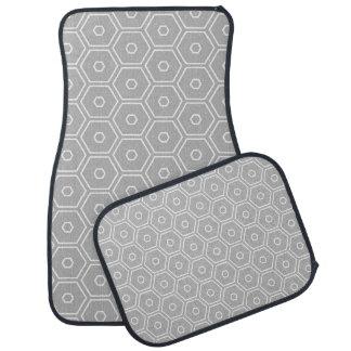 Hexágono cinzento geométrico tapete de carro