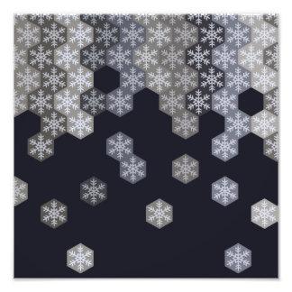 Hexágonos azuis e cinzentos gelados do floco de impressão de fotos