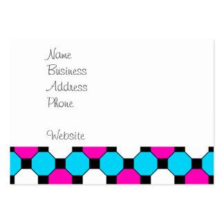 Hexágonos brancos dos quadrados pretos da cerceta cartão de visita grande