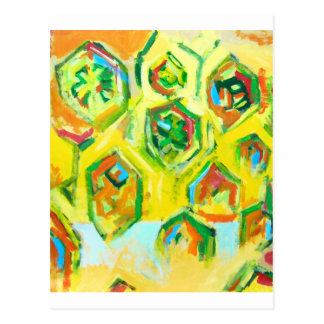 Hexágonos crus esverdeados (expressionism cartão postal
