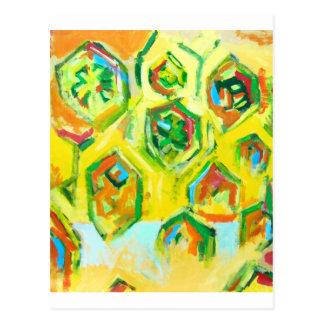 Hexágonos crus esverdeados (expressionism geométri cartoes postais