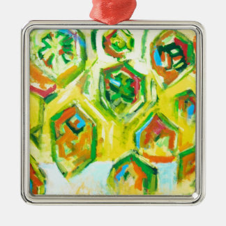 Hexágonos crus esverdeados (expressionism geométri enfeite