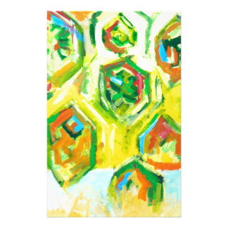 Hexágonos crus esverdeados (expressionism geométri papéis personalizados