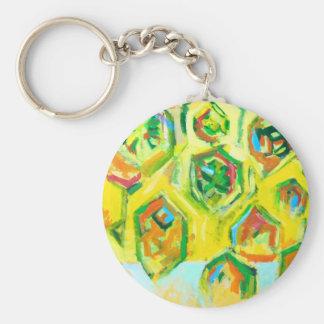 Hexágonos crus esverdeados (expressionism geométri chaveiro