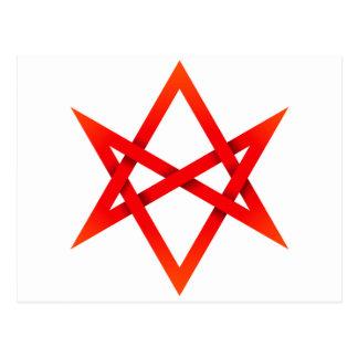 Hexagram Unicursal vermelho 3D Cartão Postal