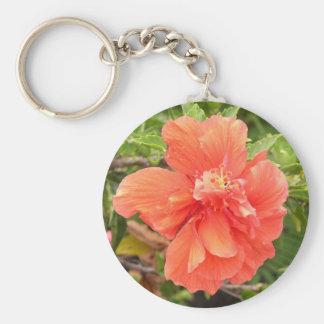 Hibiscus alaranjado brilhante chaveiro