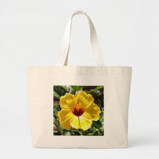Hibiscus amarelo sacola tote jumbo