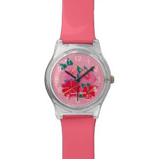 Hibiscus cor-de-rosa relógio projetado por Joanne
