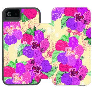 Hibiscus de creme - caixa da carteira do iPhone Capa Carteira Incipio Watson™ Para iPhone 5
