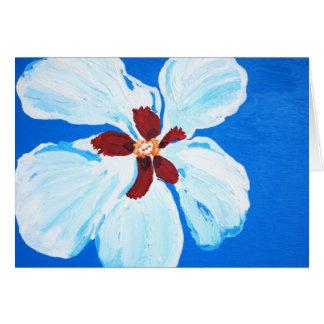 Hibiscus havaiano no cartão de nota azul