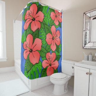 Hibiscus & Monstera do pêssego Cortina Para Chuveiro