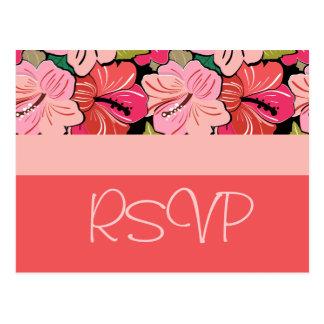 Hibiscus que Wedding o cartão de RSVP Cartão Postal