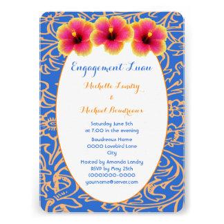 Hibiscus tropical azul brilhante convite personalizados