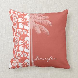 Hibiscus tropical da cor agridoce; Palma do verão Travesseiro De Decoração