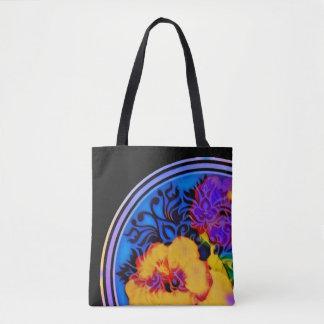 Hibiscus tropical de incandescência no preto bolsa tote