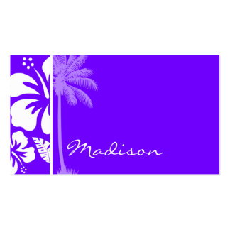 Hibiscus tropical do índigo elétrico; Palma Cartao De Visita