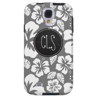 Hibiscus tropical havaiano cinzento; Quadro retro Capa Para Galaxy S4