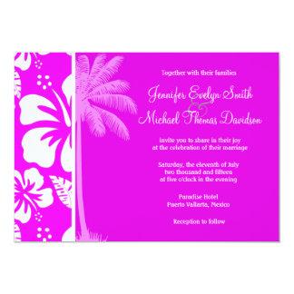 Hibiscus tropical havaiano fúcsia; Palma Convite Personalizado