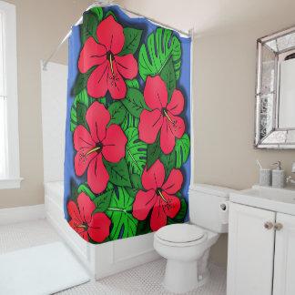 Hibiscus vermelho & Monstera Cortina Para Chuveiro