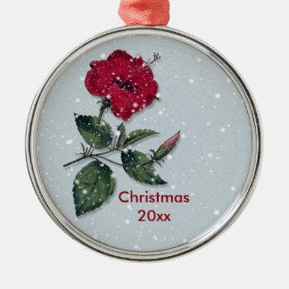 Hibiscus vermelho no Natal da neve Ornamento De Metal