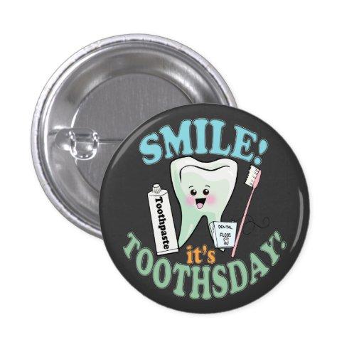 Higienista dental do dentista engraçado boton
