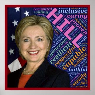Hillary Clinton Pres, bandeira & poster de